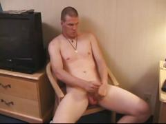 Chubby daddy struts and strokes cock