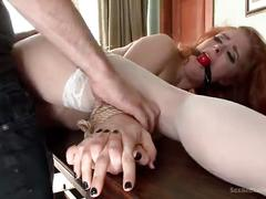 He ties her down tight and proceeds on fucking her pussy