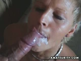Busty amateur milf toys and sucks with facial cumshot
