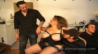 Three fat amateur french matures in a blowbang