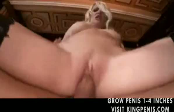 Sexy blonde in stockings laid in the cunt