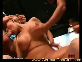 Blonde with big jugs sucks and fucks