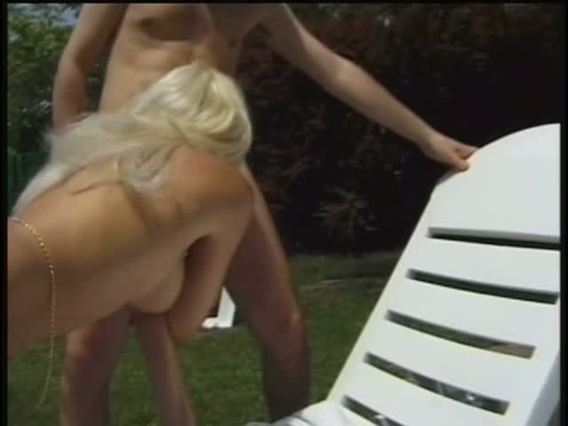 Blonde whore gets her pussy licked and fucked on the edge of pool