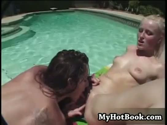 Kaylin and summer fields love relaxing by the pool