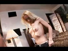 Skinny blonde's awesome couch fuck