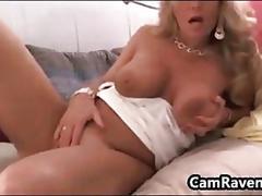 Horny blonde milf masturbates