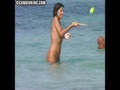 Candid milf mom naked on the nude beach with her son!