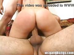 Slutty woman enjoying gangbang