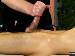 Oiled and tied twink jerked furiously