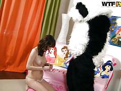 teen, russian, costume, brunette, dress, cowgirl, undressing, nice ass, sucking dildo, panda, ola, panda fuck, wtf bucks