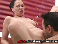 Smoking strict lady cigarette fetish