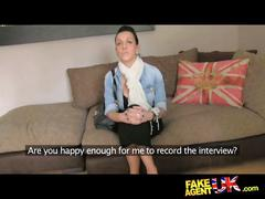 Fakeagentuk tattoed chick deep throats and gets...