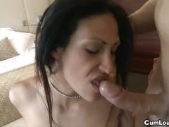Hot brunette shanel cock sucking and doggy fucking