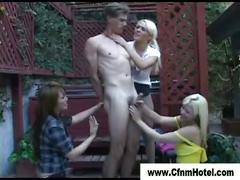 Femdom bitches show cock no mercy as they fuck guy with strapon