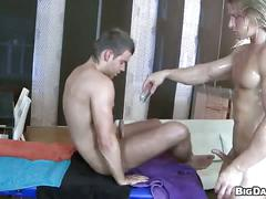 Oiled hunk opens for deep anal massage