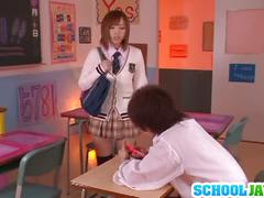 Yuu namiki sexy asian babe at school on the desk