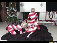 Yummy girls are celebrating xmas in a kinky way