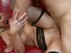 big tits, blonde, stockings, ass licking, blowjob, cum on tits, titty fuck