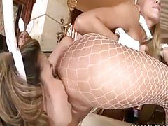 lesbian-orgy, groupsex, stocking, ass, fingering, uniform, pussylicking, skinny, babe, natural, brunette