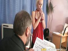 Sexy blonde babe enjoys sex with old couple.