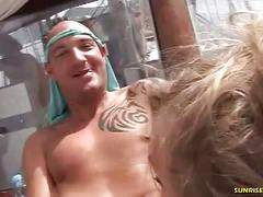 Blonde babe ass fucked while giving head