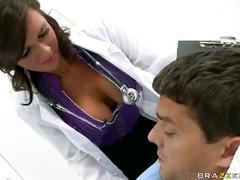 big tits, stockings, uniform, blow job, brunette, deep throat, doctor, facial, head giving, high heels
