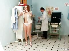 Redhead denisa gyno pussy speculum examination at clinic