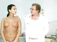 Sexy brunette abused by her doctor