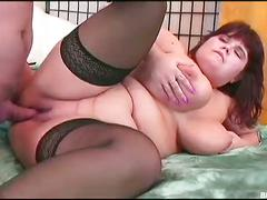 Bbw babe in stockings gets rammed