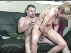 Busty shaena teases her twat then fucks lucky dude
