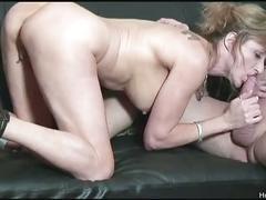Busty shaena teases her twat then fucks lucky dude