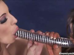 Two horny sluts shares dildo and monster cock.