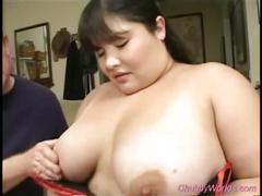 Busty chubby slut sucks very long cock