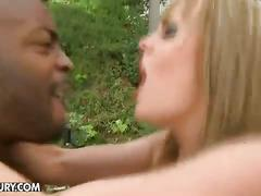 Huge black cock ramming blonde pussy