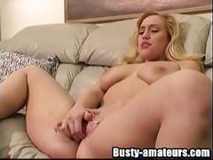 Busty blonde cheri fingering her tight pussy