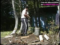 Bbw wood cutting. the pussy time