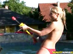 Niina takes turns getting fucked well by nick as her friends at the pool party root her on.