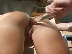 Glass double dildo and two mature