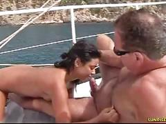Amateur deep blowjob on the boat