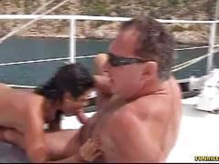 Amateur deep blowjob on the boat