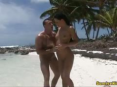 Sexy nataly hot caribbean beach sex action