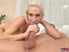 Blonde girl chokes on cockmeat