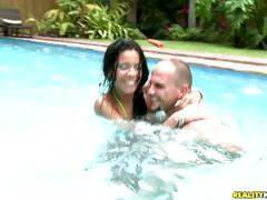 The beautiful latin alana getting fucked in a pool.