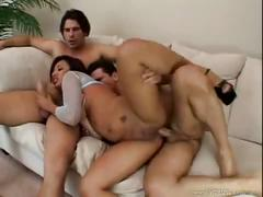 Jasmine takes three huge dicks