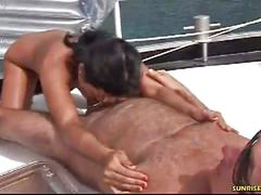 Hot babe gives a blowjob & fucks on the yacht