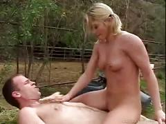 Busty blonde gets creamed in the wild