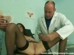 Small chick gets her breast examined