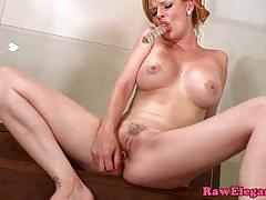 Czech pornstar tarra white toying with two dildos