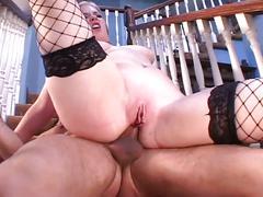 Cute blonde stockings sucking big old cock