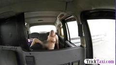 Natural tits babe screwed by fake driver in the backseat